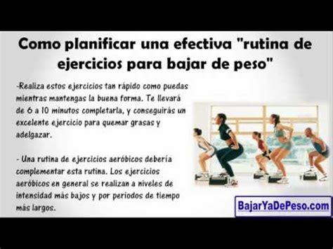 rutina de ejercicios para bajar de peso ¡SI rutina de