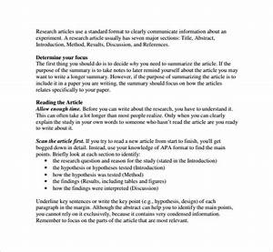 article summary template 8 samples examples formats With research synopsis template