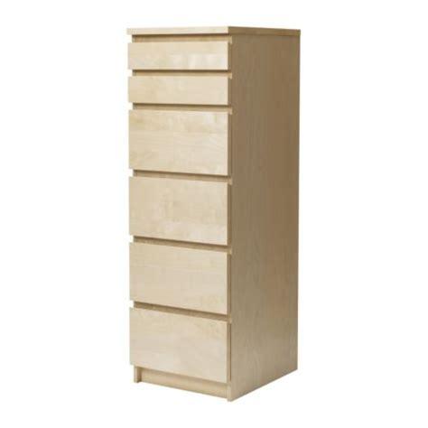 malm chest of 6 drawers birch veneer mirror glass ikea