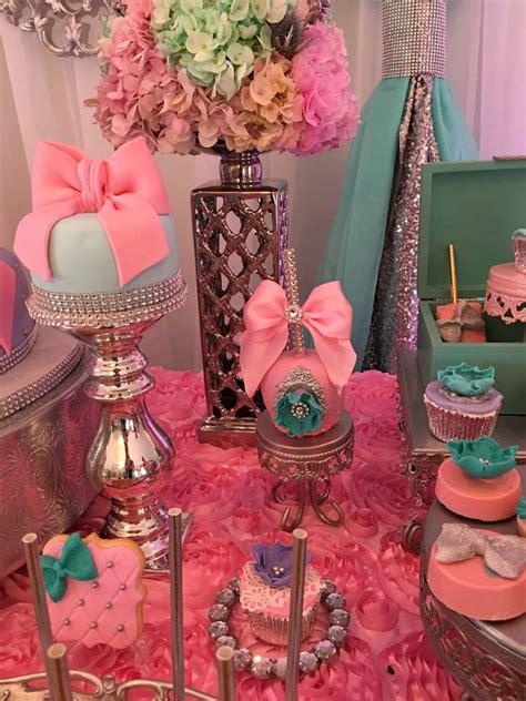 teal  pink modern chic baby shower baby shower ideas