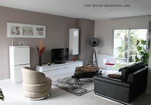 sejour contemporain taupe gris blanc noir With idee deco salon sejour photo