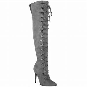 Womens Ladies Thigh High Over The Knee Stiletto Heel Boots ...