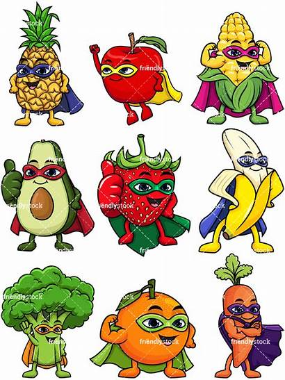 Cartoon Vegetable Clipart Fruit Superhero Vegetables Fruits