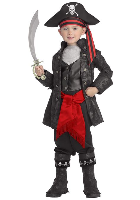 Kidu0026#39;s Captain Black Pirate Costume