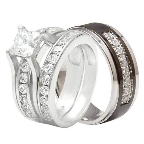 couple 3 pcs hers 925 sterling silver his black titanium wedding ring band ebay