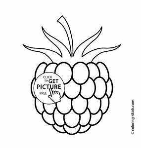 fruit coloring pages for kids - one raspberry fruits and berries coloring pages for kids