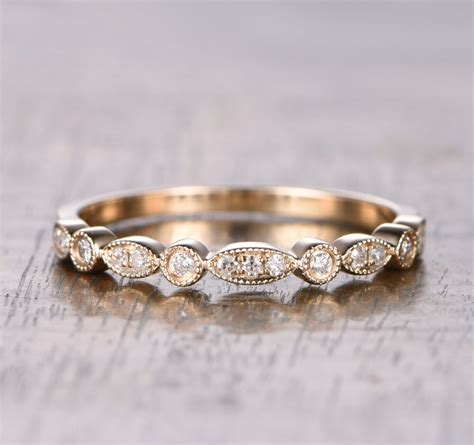 half eternity art deco si h diamonds wedding band solid 14k yellow gold ebay