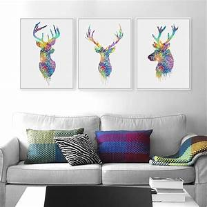 3, Piece, Watercolor, Abstract, Deer, Head, Posters, Prints, Nordic, Style, Wall, Art, Pictures, Living, Room