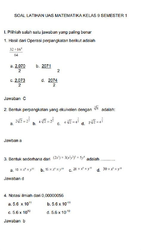 ) yang telah dipilih dan dikategorikan bundel pembahasan soal olimpiade sains informatika bundel. Kunci Jawaban Matematika Kelas Xi Semester 1 - Sanjau ...