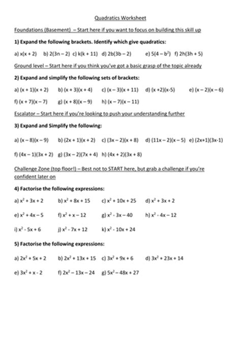 Expanding Expansion And Factorisation Of Quadratics Differentiated Worksheet + Answers By