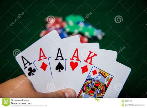 Four Of A Kind Aces King High Stock Photo  Image Of Aces