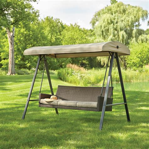 hton bay plaistow 3 person wicker outdoor swing with
