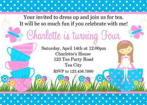Printable Birthday Invitations Girls Tea Party