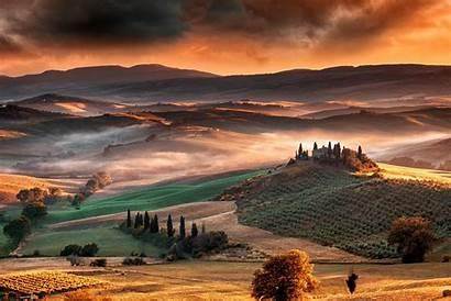 Tuscany Italy Sunrise Landscape Nature Mountain Valley