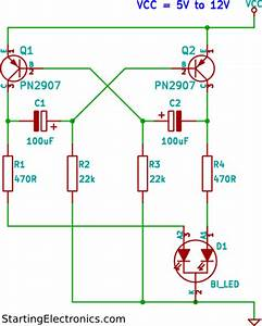 Two Colour Led Flasher Circuit Using Tri