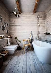 Salle De Bain En Bois : id e d coration salle de bain salle de bain avec mur de planchers plafond gris avec plancher ~ Teatrodelosmanantiales.com Idées de Décoration