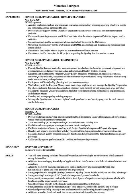 Quality Manager Resume by Quality Manager Resume Sle Qa Manager Resume Summary
