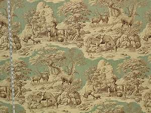 Karierte Stoffe Landhausstil : deer fabric aqua toile nature woodland lodge cabin ~ Whattoseeinmadrid.com Haus und Dekorationen