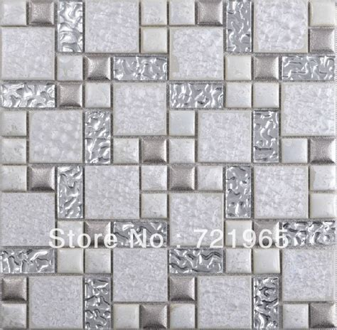 silver white glass mosaic tile backsplash resin mosaic