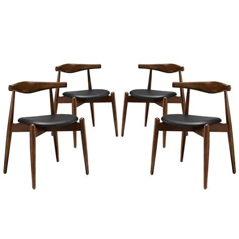 set of 4 stalwart contemporary wood dining side chairs w