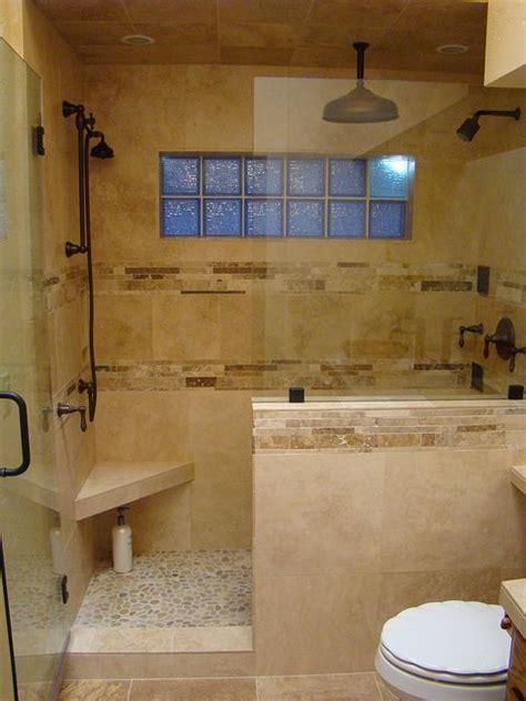 ideas  travertine shower  pinterest