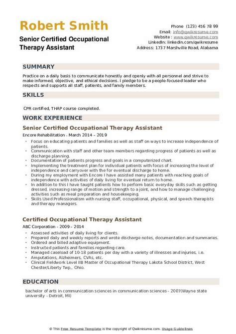 Occupational Therapy Resume by Certified Occupational Therapy Assistant Resume Sles