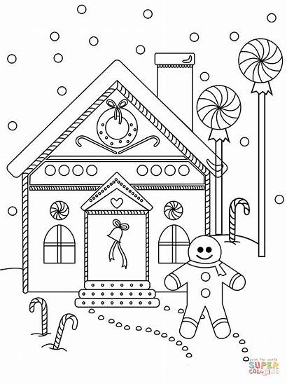 Gingerbread Coloring Pages Printable Near Drawing Colouring