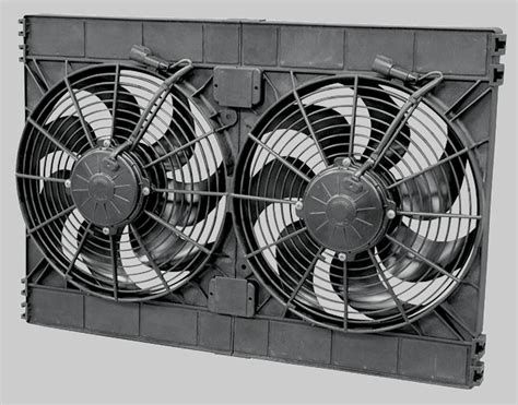 dual electric fans with shroud heat management shields blankets e fans etc spal