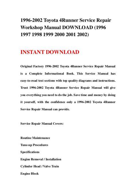 free download parts manuals 1998 toyota 4runner free book repair manuals 1996 2002 toyota 4runner service repair workshop manual download 199