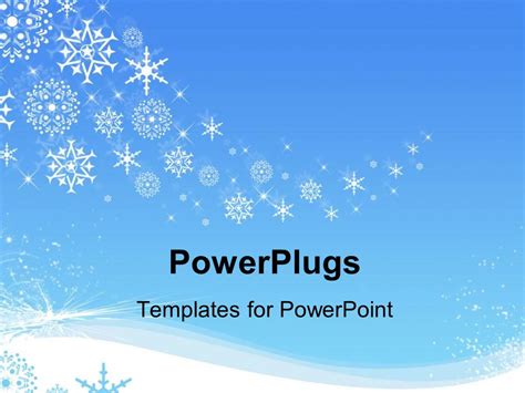 Background Winter Template by Powerpoint Template White Snowflakes Snowing In Winter On