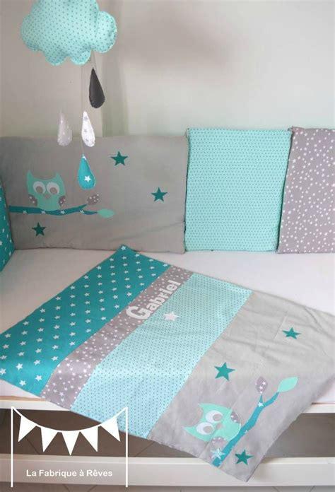 chambre couture couverture bébé turquoise vert d 39 eau mint hibou étoiles