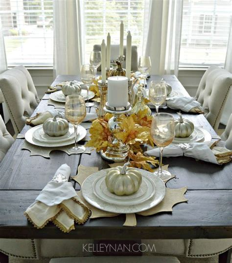 creating  fall tablescape  gold silver  white