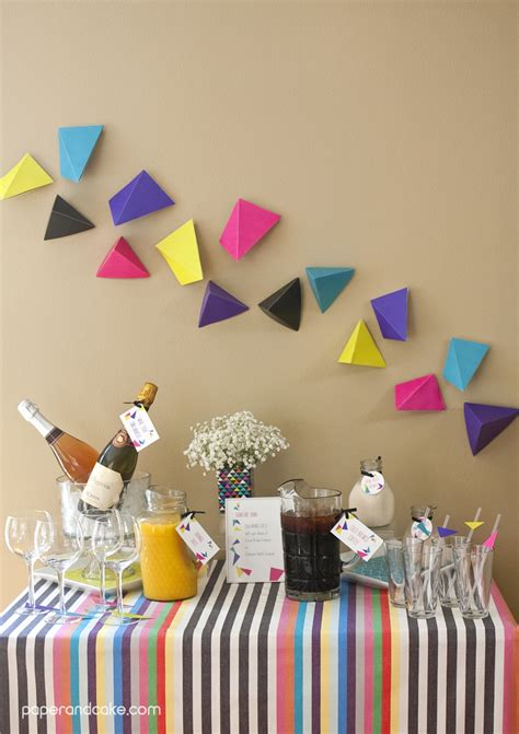 geometric triangular printable party paper  cake