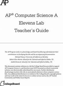 Elevens Lab Teacher U0026 39 S Guide Ap Comp Sci A Teacher