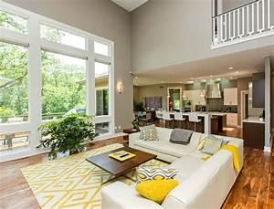 decoration interieur la combinaison gris et jaune With tapis jaune avec canape charme d interieur