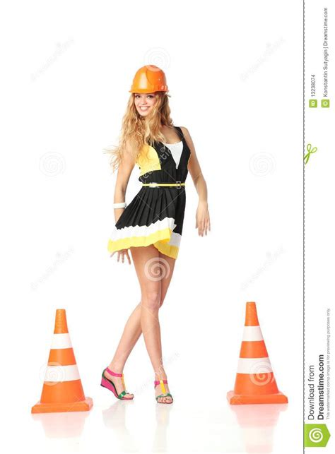 happy construction girl stock images image