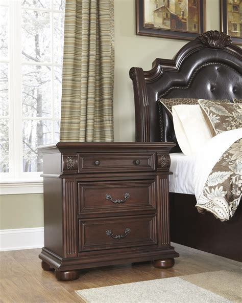 c shaped nightstand carving brown polished wooden nightstand with drawers and