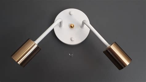 double wall sconce white with brass holder