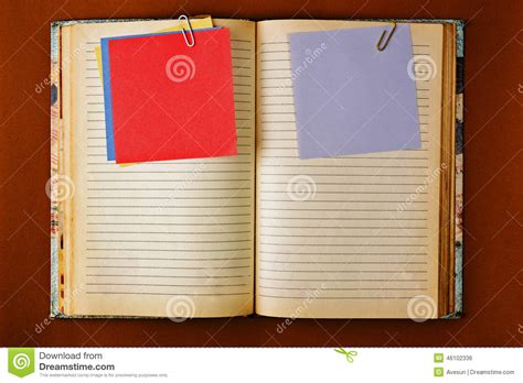 notebook  stained pages design stock photo image