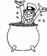 Pot Coloring Gold Leprechaun Pages Happy Coins Printable Bathe Inside Jokes sketch template