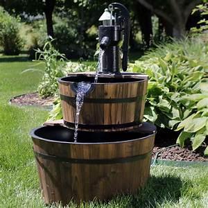 Sunnydaze, Wood, Barrel, Outdoor, Water, Fountain, With, Hand, Pump