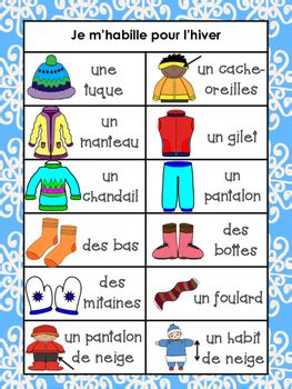 french winter clothing bundle vocabulary  writing