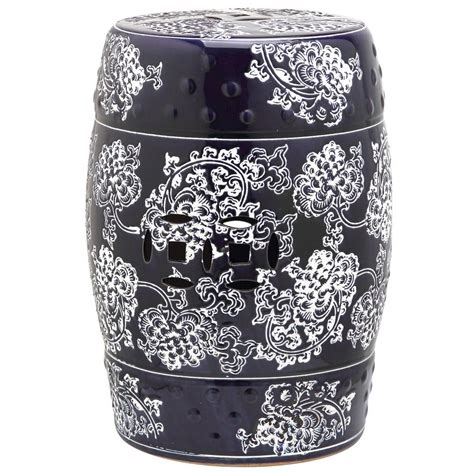 Garden Stool by Safavieh Midnight Flower Navy And White Garden Patio Stool