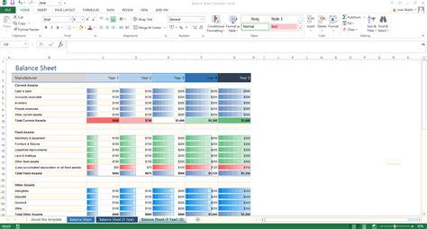 excel template  year balance sheet