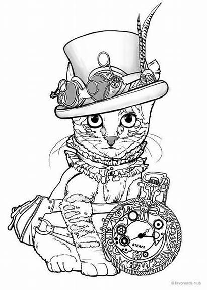 Steampunk Cat Coloring Pages Printable Adult Favoreads