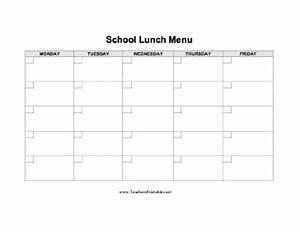 school lunch menu With school lunch calendar template