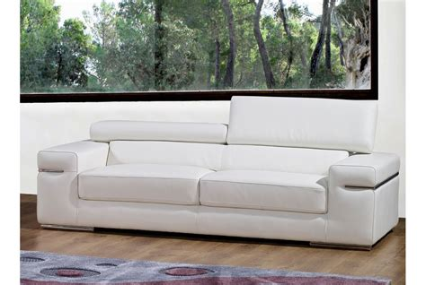 canapes cuir blanc deco in canape 3 places en cuir blanc can