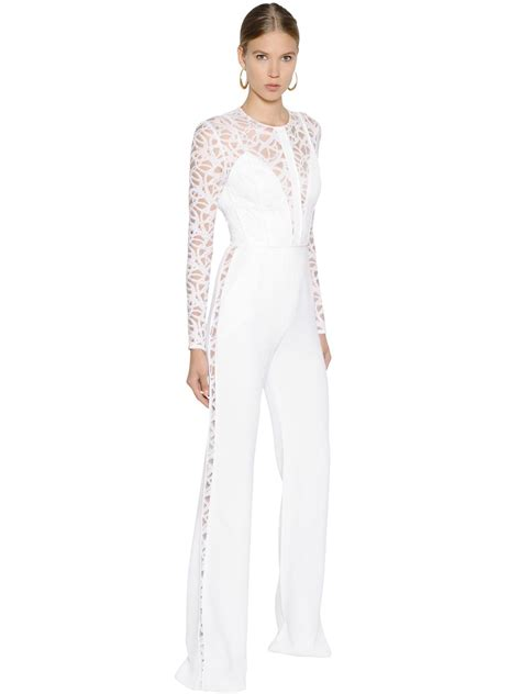 lace jumpsuit white lyst elie saab cady lace jumpsuit in white
