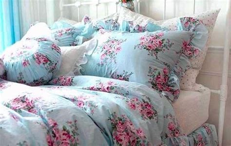 shabby chic bedding and curtain sets details about shabby princess chic blue rose floral duvet
