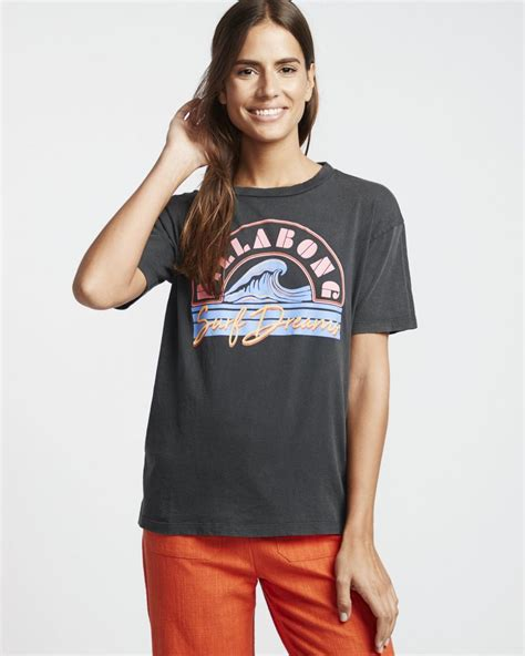 Mujer Surf Dream Camiseta Con Estampado Gráfico Black